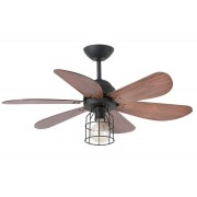 Faro Ceiling Ceiling Fan 91 Cm With Integrated Lamp - Chicago - Teak And Structure Gray Basalt
