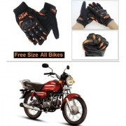 AutoStark Gloves KTM Bike Riding Gloves Orange and Black Riding Gloves Free Size For Honda CD Dawn