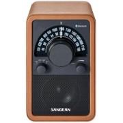 Bluetooth fa dobozos asztali rádió bőr bevonattal Sangean WR-15 BT barna