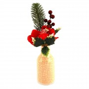 Decoratiune buchet flori artificiale + vaza Home, Multicolor