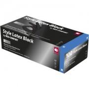 Style Black Latex Einmalhandschuhe puderfrei, Untersuchungshandschuhe, schwarz, unsteril, 1 Packung = 100 Stück, Größe L