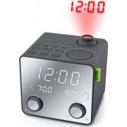 Radio cu ceas Muse M-189 PMR, portabil, proiectie ajustabila, Dual Alarm, USB (Negru/Argintiu)