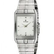 Titan Quartz White Rectangle Men Watch 9151sm01-k222a