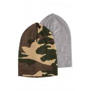 Nordbjørn Abisko Mössa 2-pack, Camouflage/Grey Melange Solid 4-6