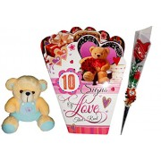 Best Love Couple Gifts For Valentine Day - Greeting Card, Soft Teddy,Artificial Flower