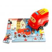 Puzzle din lemn Masinuta de pompieri Topbright, 24 piese, 3 ani+