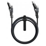 Cablu pentru incarcare si transfer de date 3 in 1 NOMAD Kevlar 2x USB Type-C/Micro-USB/USB-A 1.5m Negru