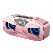 M5 Owl Design Wireless Bluetooth Speaker with Flash LED Light Support FM Radio Alarm Clock TF Card - Rose Gold