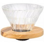 Hario Olive Wood V60 storlek 02 filterhållare i glas och olivträ