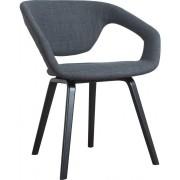 Fotel FLEXBACK 1200098 Zuiver nowoczesny fotel z elastycznym sprężynującym oparciem ciemnoszara tapicerka bukowe nogi w czarnym kolorze