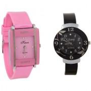 i DIVA'S Glory Kawa Combo Of Two Watches-Baby Pink Rectangular Dial Kawa And Black Circular Dial Glory Watches by 5 STAR