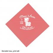 Servetel rosu personalizat pentru botez