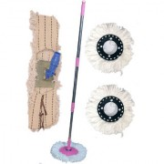 Oanik Home Cleaning Pink Spin Mop With 2 refill