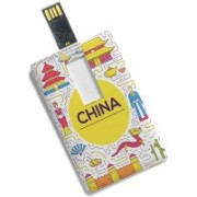 100yellow Credit Card Shape 8GB Tour to China Printed High Speed Fancy Pen Drive/Data Storage 8 GB Pen Drive(Multicolor)
