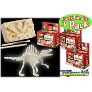Toysmith Mini Glow In The Dark Dinosaur Excavation Kit Party Set Bundle 3 Pack (Assorted Dinos)