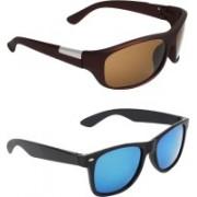 Zyaden Wrap-around, Wayfarer Sunglasses(Brown, Blue)