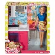Barbie Papusa si Setul de Mobilier Bucatarie DVX53