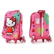 Hello Kitty Hardshell Travel School Bag and Trolley Luggage Suitcase Bag, 6 Wheels School Bag For Kids