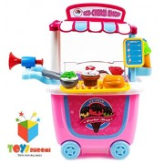 Toys Bhoomi 31 Pieces Push Cart Trolley Ice Cream Parlor Shop Kitchen Set Toys for Kids Pretend Play