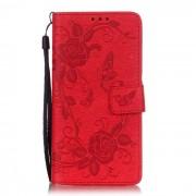 Caso protector del patron de la mariposa BLCR para Huawei P9 Lite - Rojo