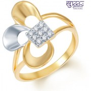 Sukkhi Rhodium Plated Fine Design Gold & White Rhodium Plated CZ Ring (245R300) for Women
