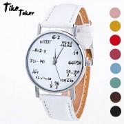 TIke Toker Math formula Watch women Fashion Girls Function Leather Band Analog Quartz Wristwatches Ladies Watches Children Gift
