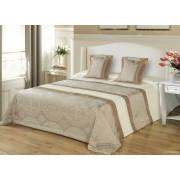 3 részes ágytakaró szett 200x220 cm - barna legyezős mintás