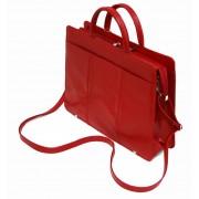 JEDNOKOMOROWA czerwona teczka damska ze skóry naturalnej, produkcja krajowa
