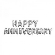 Utkarsh Happy Wedding Anniversary Solid Printed Silver Color Alphabets Letter Foil-Air Balloon For Party Decorations