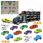 iBaseToy Toy Cars Collection,Transport Truck Vehicles, Educational Set for Kids,Boys,Girls,Composed of 8 Sports Car + 2 Orv + 2 Helicopters + 6 Roadblocks + 1 Town Map,Creative Birthday Festival