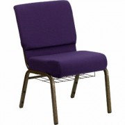 Flash Furniture Fabric Church Chair with Cup/Book Rack - Royal Purple w/Gold Vein Frame, 21 1/4Inch W x 25Inch D x 33 1/4Inch H, Model FDCH2214GVROYB