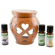 Candelă de aromaterapie și 3 sticluțe de uleiuri esențiale 10ml: Mentă, Portocale Dulci și Lavandă