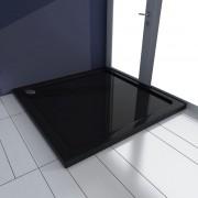 vidaXL Čierna štvorcová ABS vanička pre sprchovací kút 90 x 90 cm