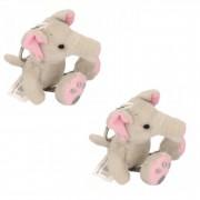 Merkloos 6x stuks sleutelhangers olifant knuffelbeestje 10 cm - Knuffel sleutelhangers