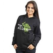 Campus Sutra Women's Black Hooded Sweatshirt (Design 9)