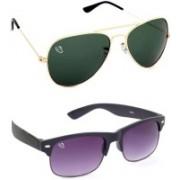 Aventus Aviator, Wayfarer Sunglasses(Green, Violet)