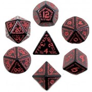Custom & Unique {Standard Medium} 7 Ct Pack Set Of [D4, D6, D8, D10, D12, D20] Assorted Polyhedral Shapes Playing & Game Dice W/ Ancient Runic Font Abstract Mid Evil Design [Black & Red]