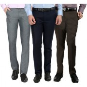 Gwalior Pack Of 3 Formal Trousers - Blue Brown Light Grey