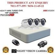 HIKVISION 2 MP 4CH DS-7104HQHI-F1 MINI Turbo HD 720P DVR + HIKVISION DS-2CE16DOT-IR TURBO BULLET CAMERA 3pcs CCTV COMBO