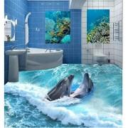 Sykdybz Adhesivo de pared 3D personalizado dophins en suelo de ola de mar Pintura de fondo de pantalla de fotos para las paredes decoración mural, 400x300cm