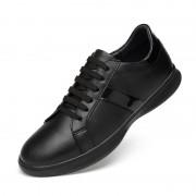 Mode ademend slijtvast leer casual schoenen voor mannen (kleur: zwart grootte: 37)