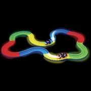 Fancyku 165 pcs Glowing Race Car Twister Racing Track DIY Flashing Light Tracking Rail Glow in The Dark Flexible Railway for Mini Cars Kids