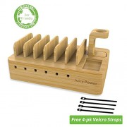 AVLT-Power Juicy Power Universal Multi-device Charging Station Organizer with Apple Watch Stand - Charging Dock - Four Free Velcro Straps Included - Charging Device NOT included - Eco-Friendly Bamboo