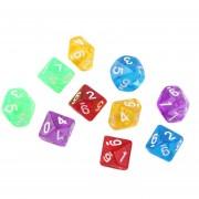 ER 10pcs / Set Juegos De Varios Lados Dados D10 Juego En Cuadritos Que Juega Al Juego Del Color 5 Multicolor