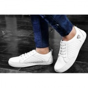 Men's White Solid Court Royale Sneakers