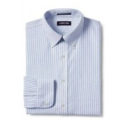 Lands' End MODERN FIT. Buttondown-Kragen. Gemustertes, bügelleichtes Oxfordhemd - Blau - 44 89 von Lands' End
