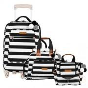 Mala Maternidade com rodízio + Bolsa Everyday + Frasqueira Térmica para bebe Emy Brooklyn Black and White - Masterbag