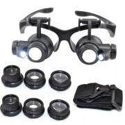 Szemüveg típusú nagyító LED világítással 4db nagyító 10X / 15X / 20X / 25X - NO.9892G