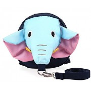Zicac Baby 2 in 1 Cute Elephants Walk Safety Harness Strap Reins Anti Lost Backpack for Boys and Girls (Blue)