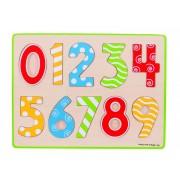 Puzzle mare 123, 10 piese din lemn, numere de la 0 la 9, 3 - 6 ani